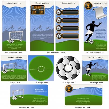 サッカー ボール静止 - パンフレットのデザイン、CD ジャケットのデザイン、ビジネス カードのデザイン 1 つのパッケージと完全に編集可能