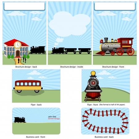 蒸気鉄道定常  イラスト・ベクター素材