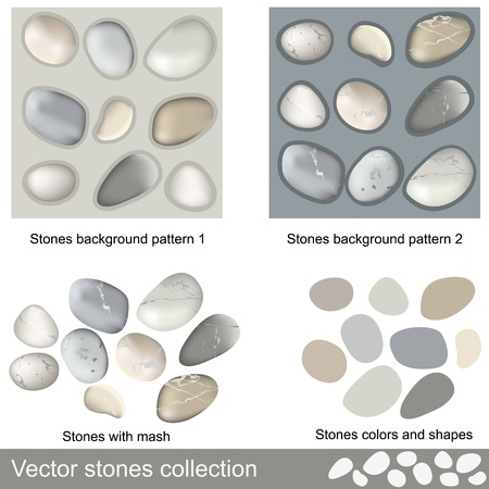Different stones collection with stones background patterns. Vector