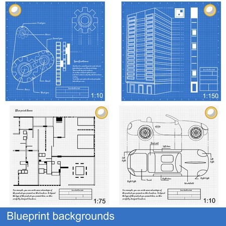scribbling: Four different blueprints: gears, a building, inside house and a car.