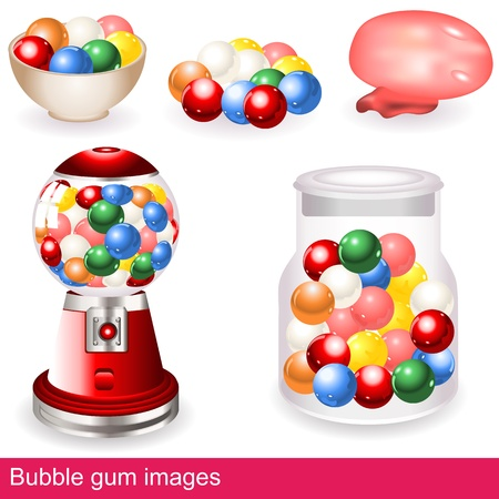 dispenser: Collection of different, colorful and bright bubble gum images - icons.