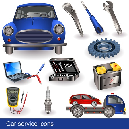 fix gear: Collection of different car service tools and objects - icons. Illustration