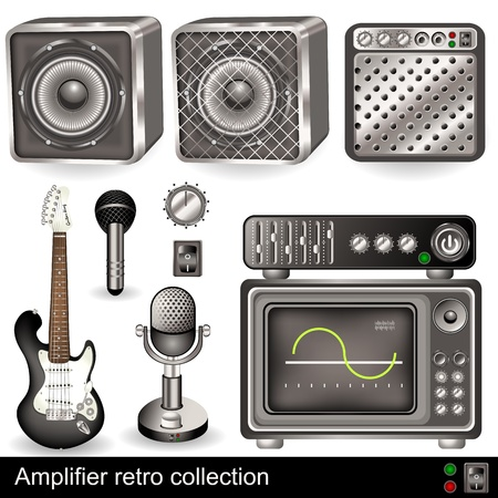 A collection of different retro amplifier elements, with guitar and microphones  Vector