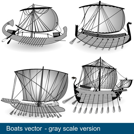 viking ship: The work represent four boats and technology development through centuries  In gray scale