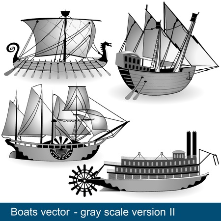 The work represent four boats and technology development through centuries  In gray scale  Part 2  Vector