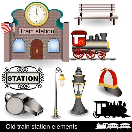 estacion de tren: Los diferentes elementos (iconos) de una antigua estaci�n de tren. Vectores