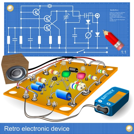 Illustration of an old electronic device, along with blueprint scheme.