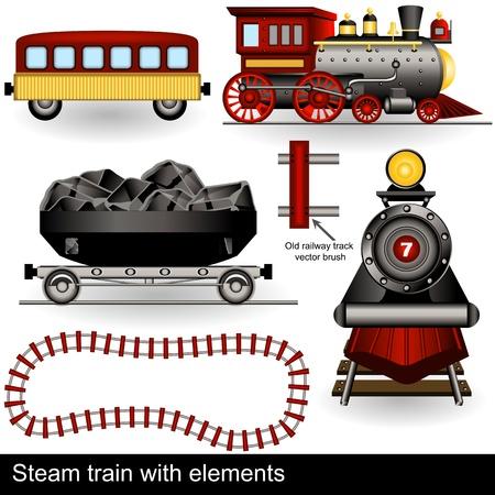railway track: Illustratie van twee stoomtreinen in verschillende posities, samen met wagens en een spoorlijn. Stock Illustratie