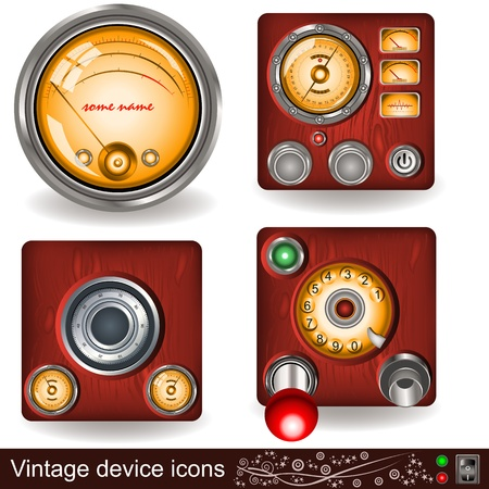record player: Illustration of four different vintage device icons Illustration