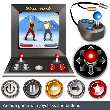 ARCADE GAMES: Illustrations of arcade game with joysticks and buttons