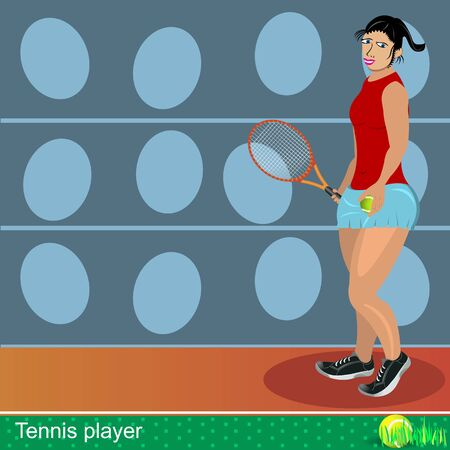 Illustration of a female tennis player with a ball and a racket  Vector