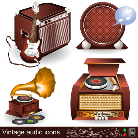 Illustration of vintage audio icons, part 1 Vector