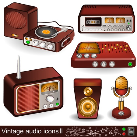 gold record: Illustration of vintage audio icons, part 2