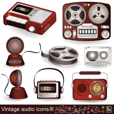 Illustration of audio icons, part 3 Vector