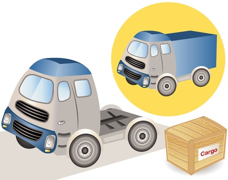 diesel fuel: Illustration made from sketch, Big truck with a cargo beside it