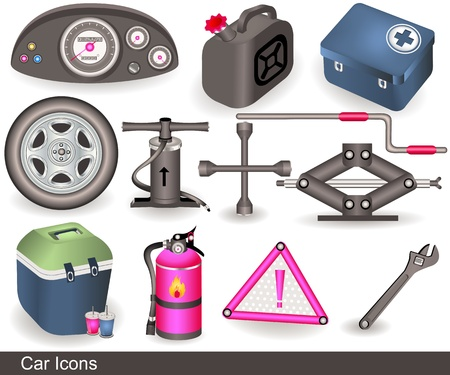 Illustration of different car icons over white background  Vector