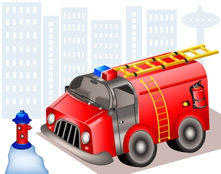water hoses: Hand drawn illustration of a fire truck beside the water pump  In front of city background