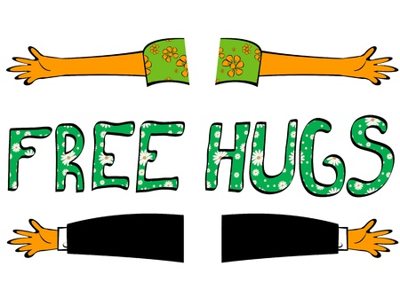 group hug: Hand drawn illustration of open hands with Free hugs text