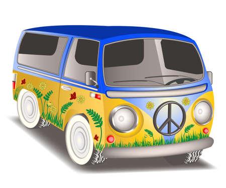 figli dei fiori: Illustrazione di un furgone hippie su sfondo bianco