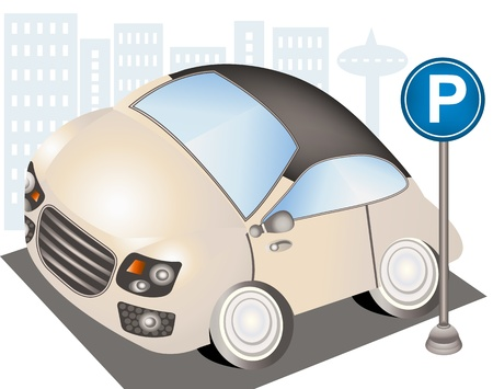 Hand drawn illustration of a nice small car beside the parking sign  Over city background Vector