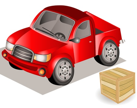Hand drawn illustration of a small truck beside a wooden box. Vector