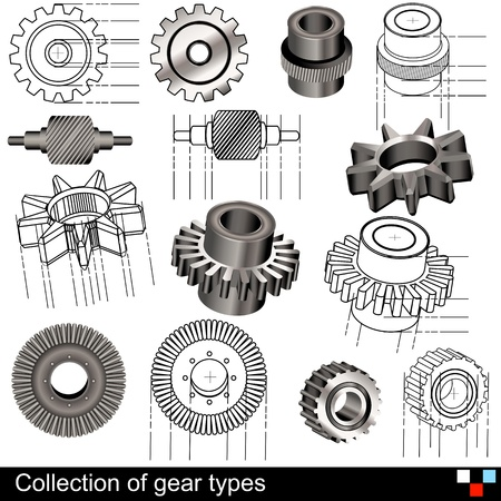 Collection of gear types Imagens - 15709512