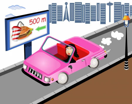 Hand drawn illustration of a girl leaving a city in cabriolet. Vector