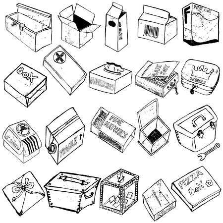 mail delivery: Great collection of box sketches over white background