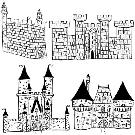 stronghold: Sketches of four different castle types over black background