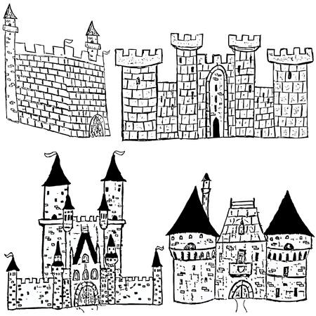 bollwerk: Sketches von vier verschiedenen Schloss-Typen auf schwarzem Hintergrund