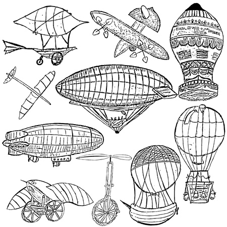 Sketch of different early flying machines over white background  Çizim