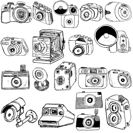 photo equipment: Great collection of different photo camera sketch over white background