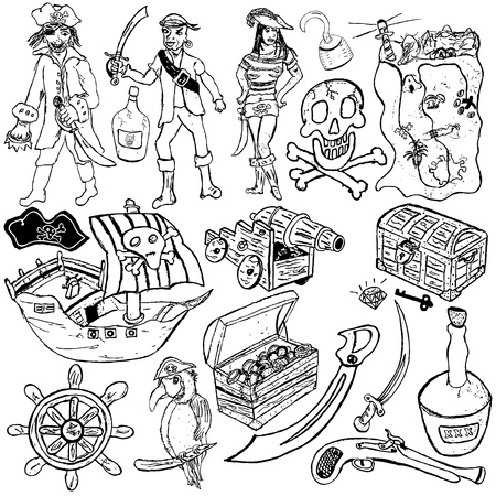 map pencil: Different pirate icons sketch over white background