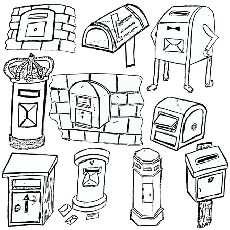 sender: Collection of different mail box sketch over white background