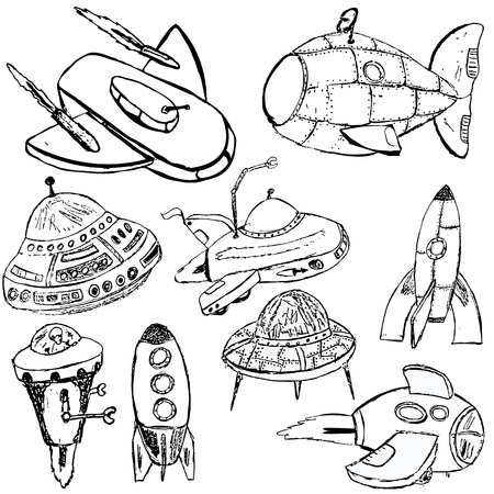 sf: Collection of different retro SF flying machines sketch over white background.