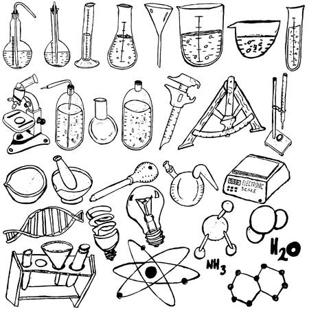 경험: 다른 과학 아이콘의 컬렉션은 흰색 배경 위에 스케치합니다.