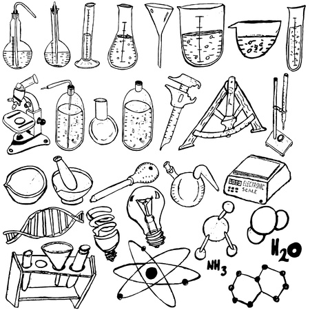 molecular science: Collection of different science icons sketch over white background.