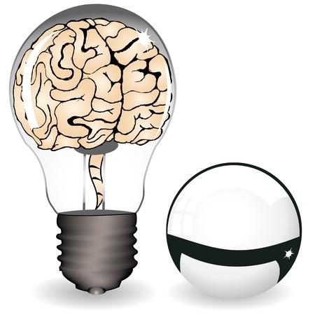 Brain in a bulb Stock Vector - 16798934