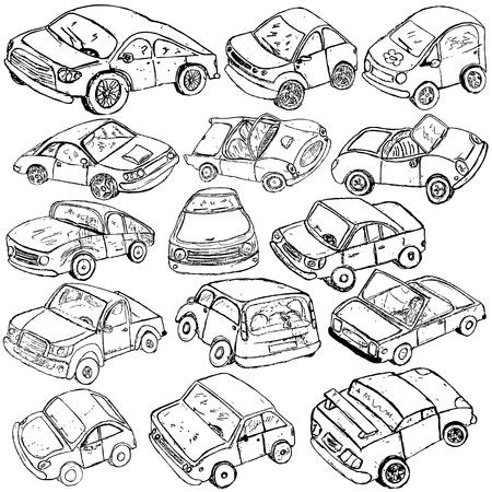 Sammlung von verschiedenen Auto Skizzen auf weißem Hintergrund.