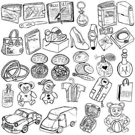 Doodle sketch of different shopping gifts. Vector