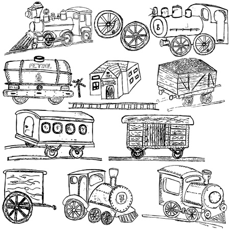 Doodle train sketch elements isolated over white background. Vector