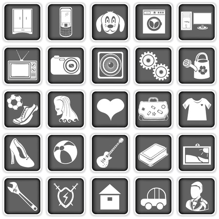 Collection of different squared icons for advertising web sites  Vector