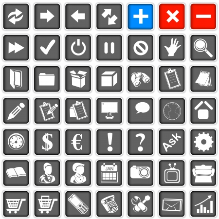 Collection of different squared web icons, part one Stock Vector - 17243011