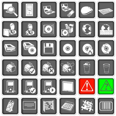 Collection of different squared web icons, part two Vector