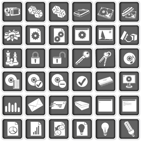 Collection of different squared web icons, part three. Stock Vector - 17243009