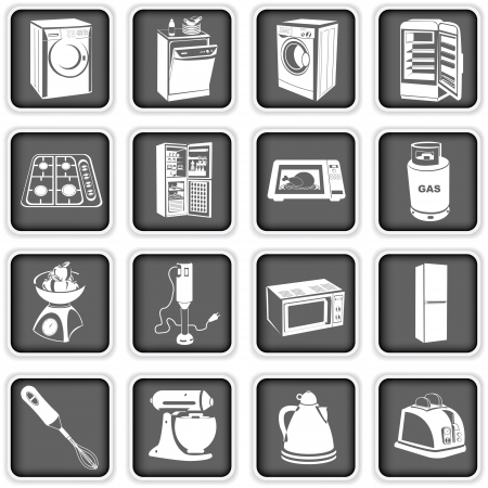 dish washing: Collection of different kitchen appliances Illustration
