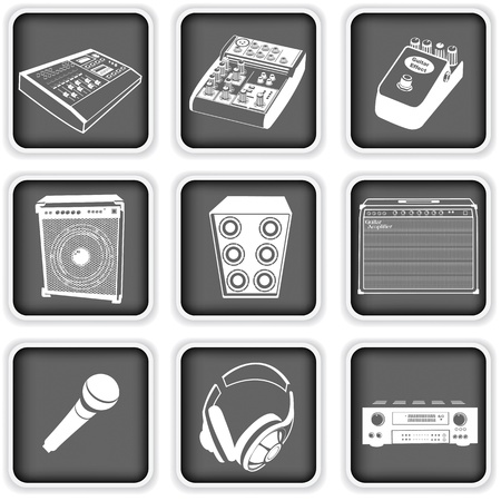 loud speaker: Collection of different music equipment icons Illustration