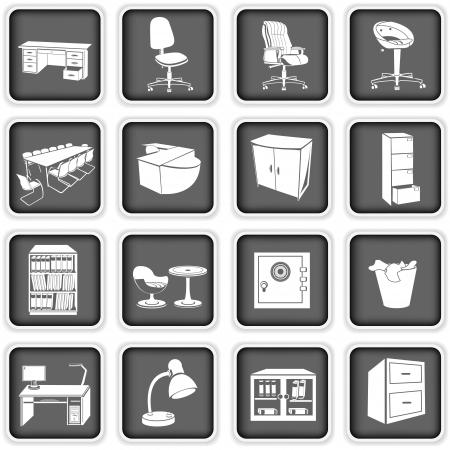 офис: Коллекция различных иконок офисной мебели Иллюстрация