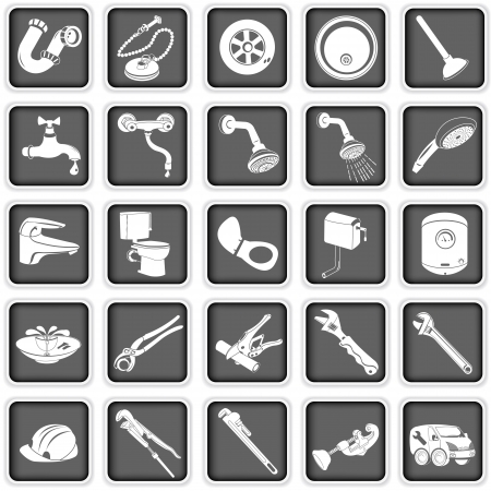 bathroom icon: Collection of different plumber icons Illustration