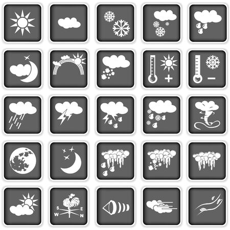 partly sunny: Collection of different weather icons Illustration